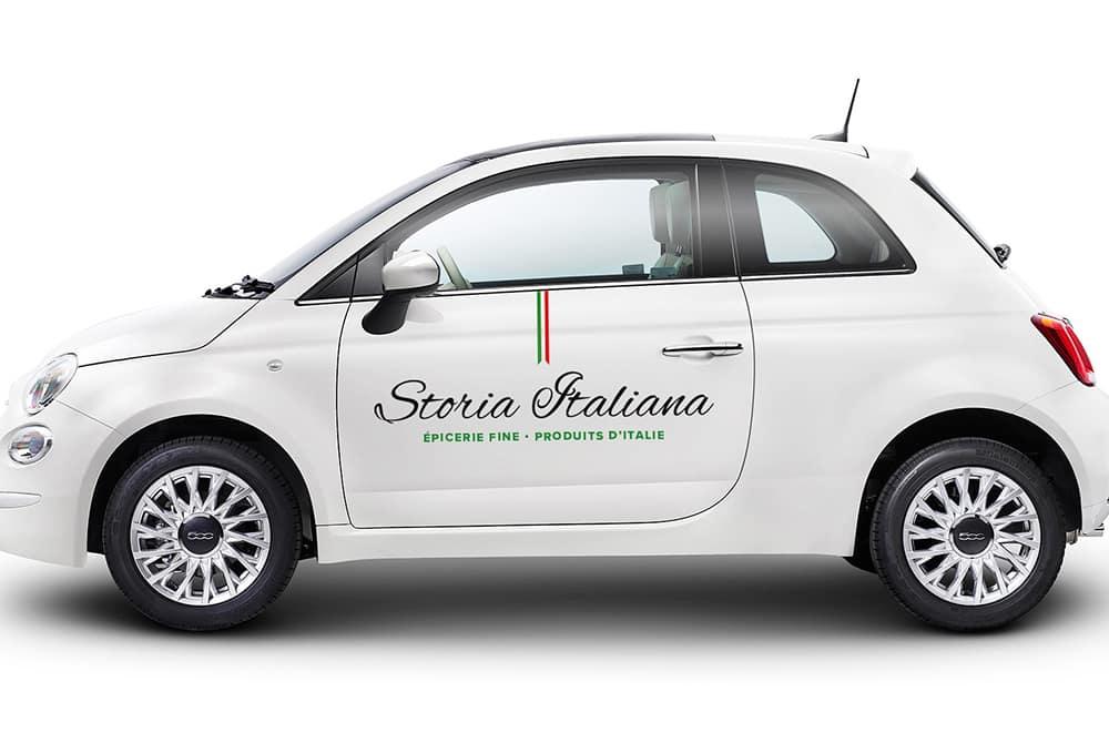 Storia Italiana - voiture lettrage côté droit